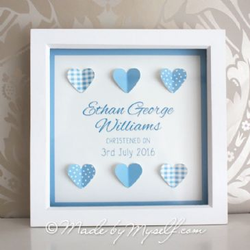 Personalised Christening Gift - Framed Hearts - Boy